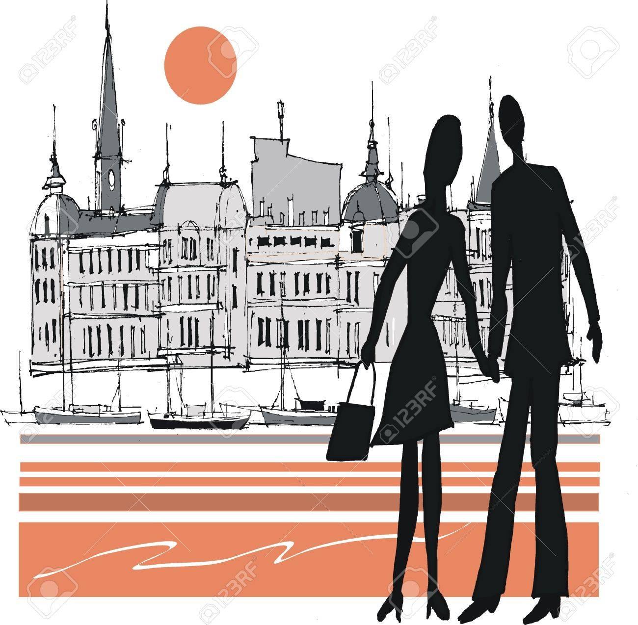 イラストのカップルの手をスウェーデンのストックホルム ロイヤリティ