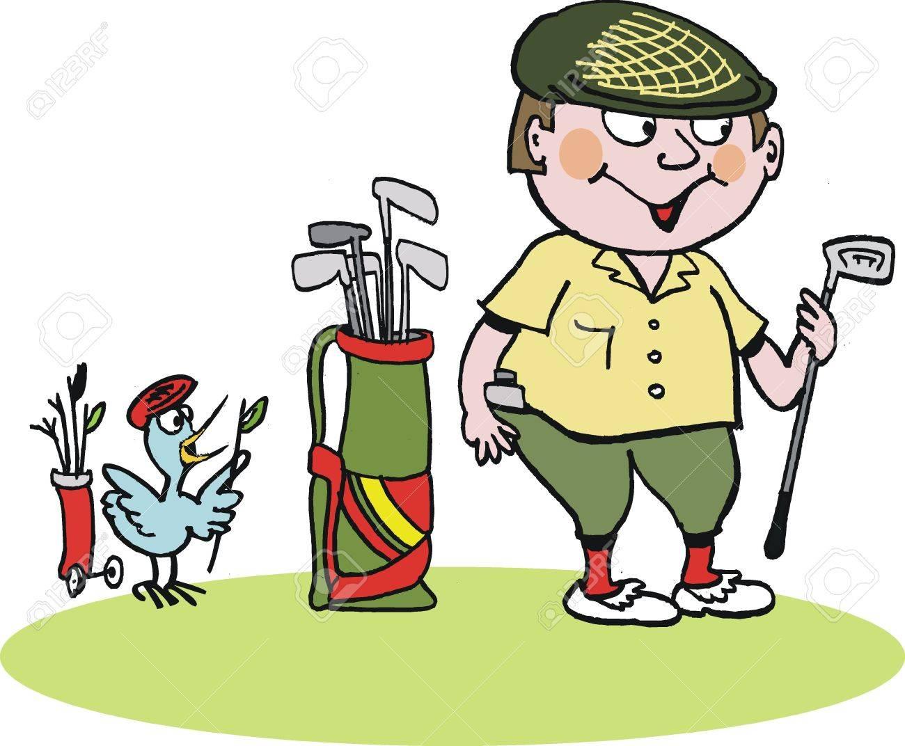 cartoon of Scottish golfer in plus fours Stock Vector - 12233381