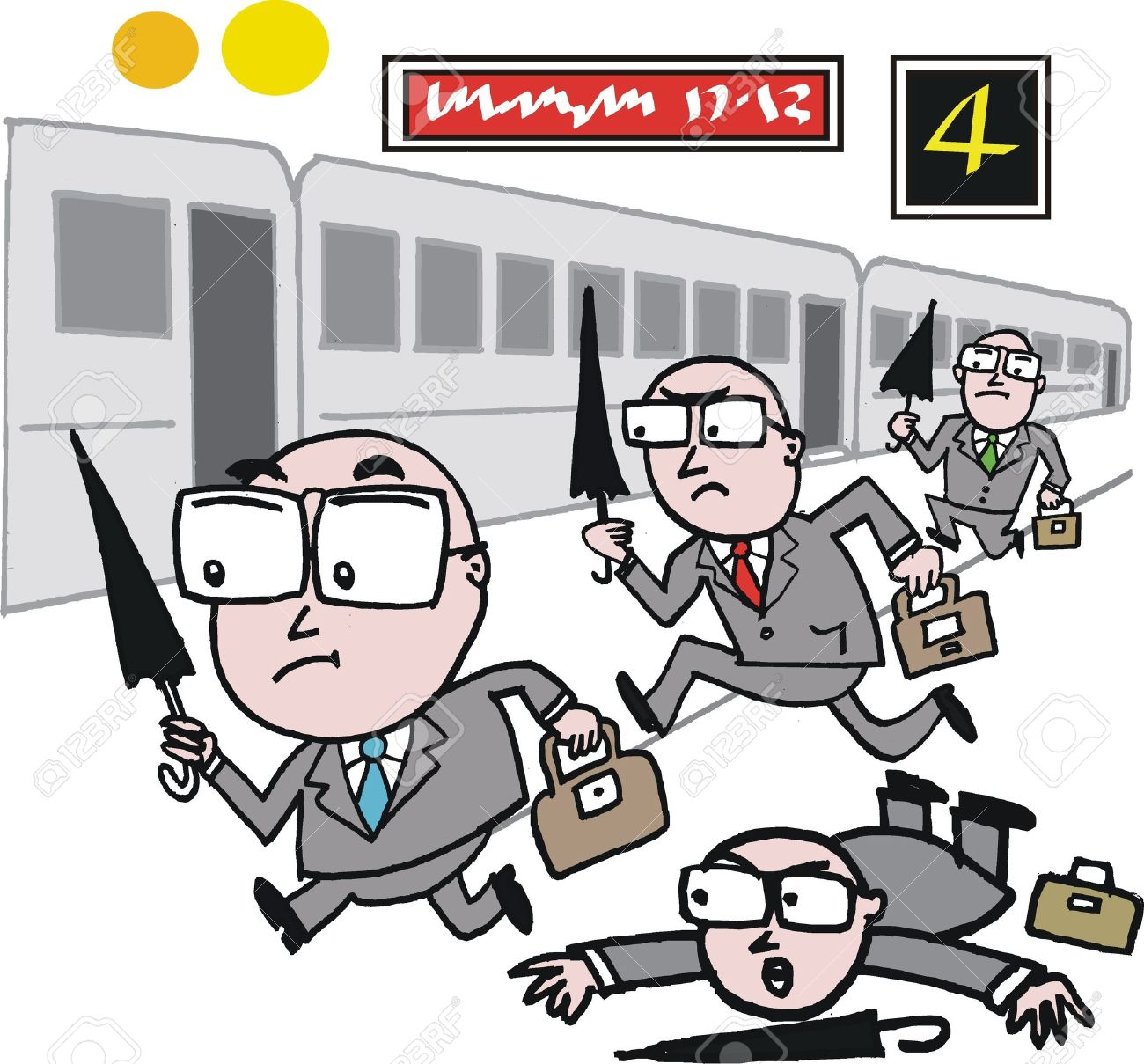 cartoon of business men rushing to catch train Stock Vector - 12233392