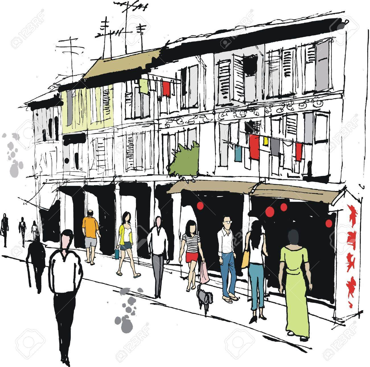 Vector illustration of old Chinatown area, Singapore Stock Vector - 12483926