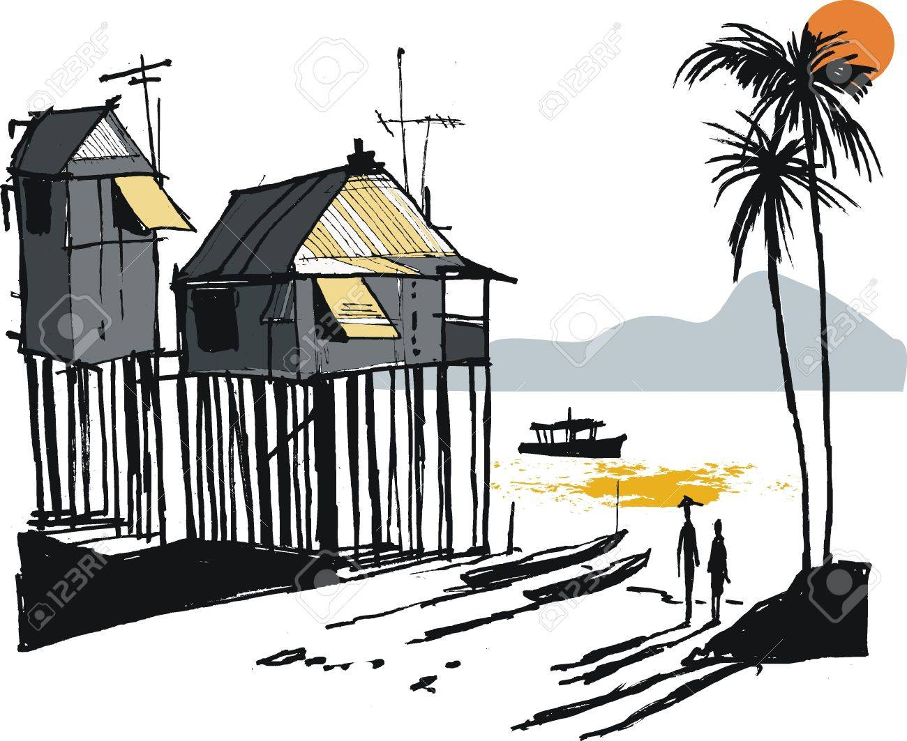 Vector illustration of Malay fishing village, Singapore Stock Vector - 12483930