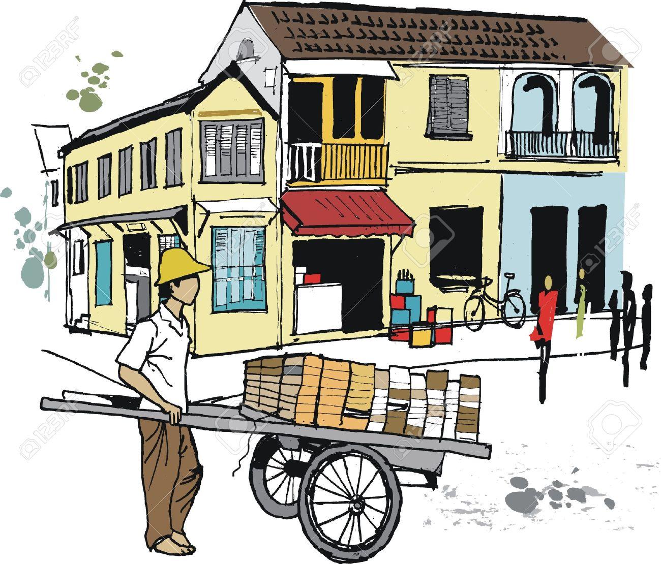 Vector illustration of barrow seller, Hoi An, Vietnam Stock Vector - 12483935