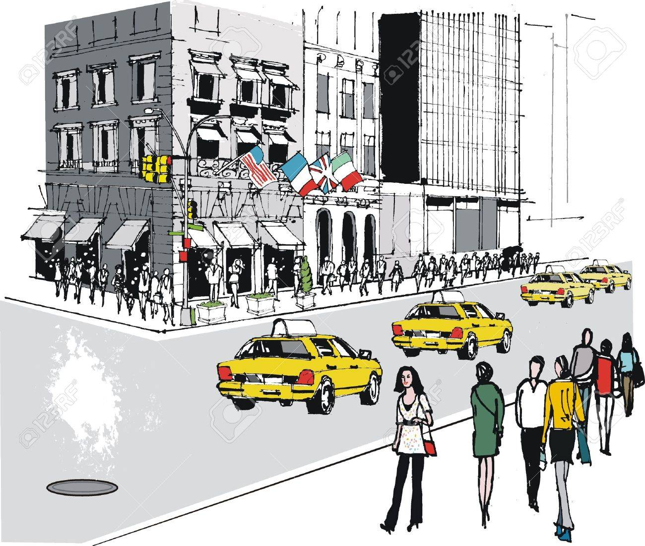 Vector illustration of taxis on Fifth Avenue, New York Stock Vector - 12804016