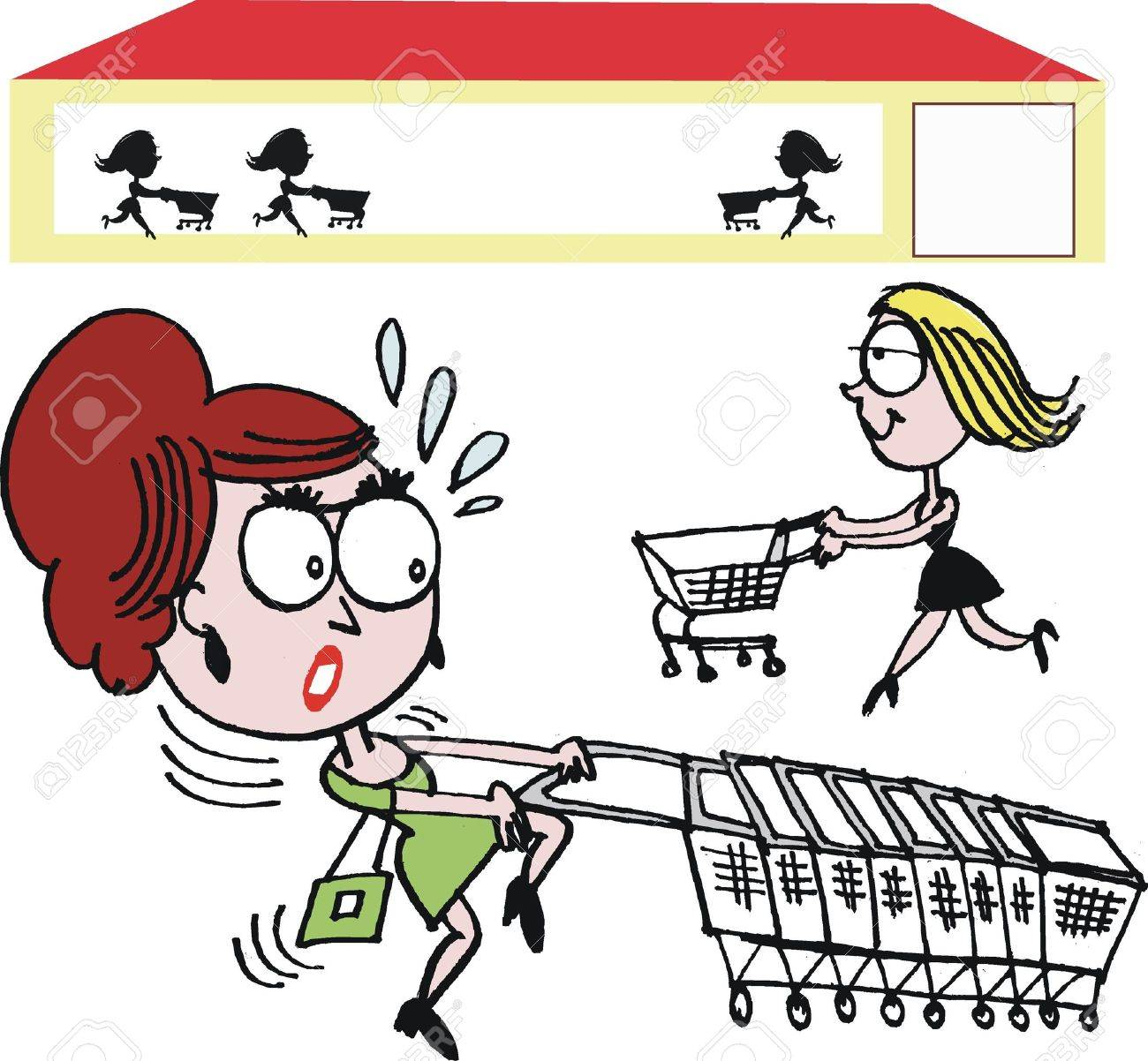 Vector cartoon of woman with shopping trolley - 12804039