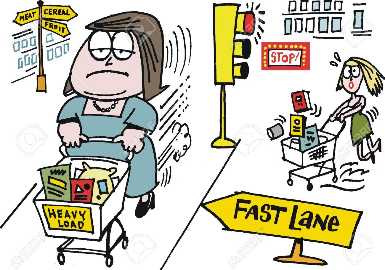 Vector cartoon of woman shoppers in supermarket Stock Vector - 12804041