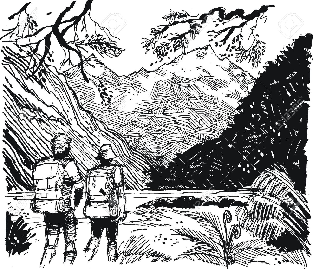 Vector illustration of hikers in mountain valley Stock Vector - 13360748