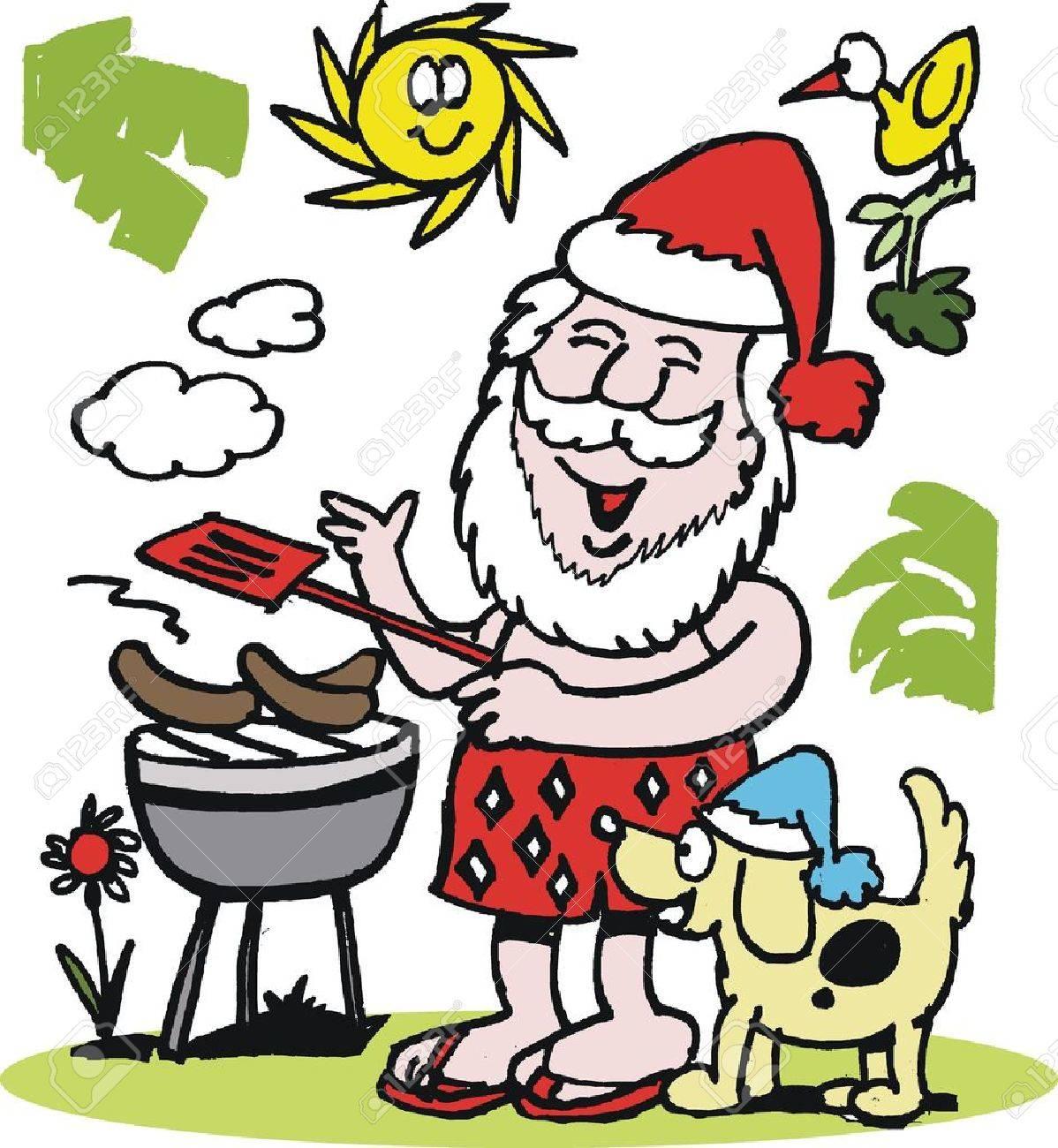 Dessin Barbecue dessin animé de santa claus ayant barbecue clip art libres de droits