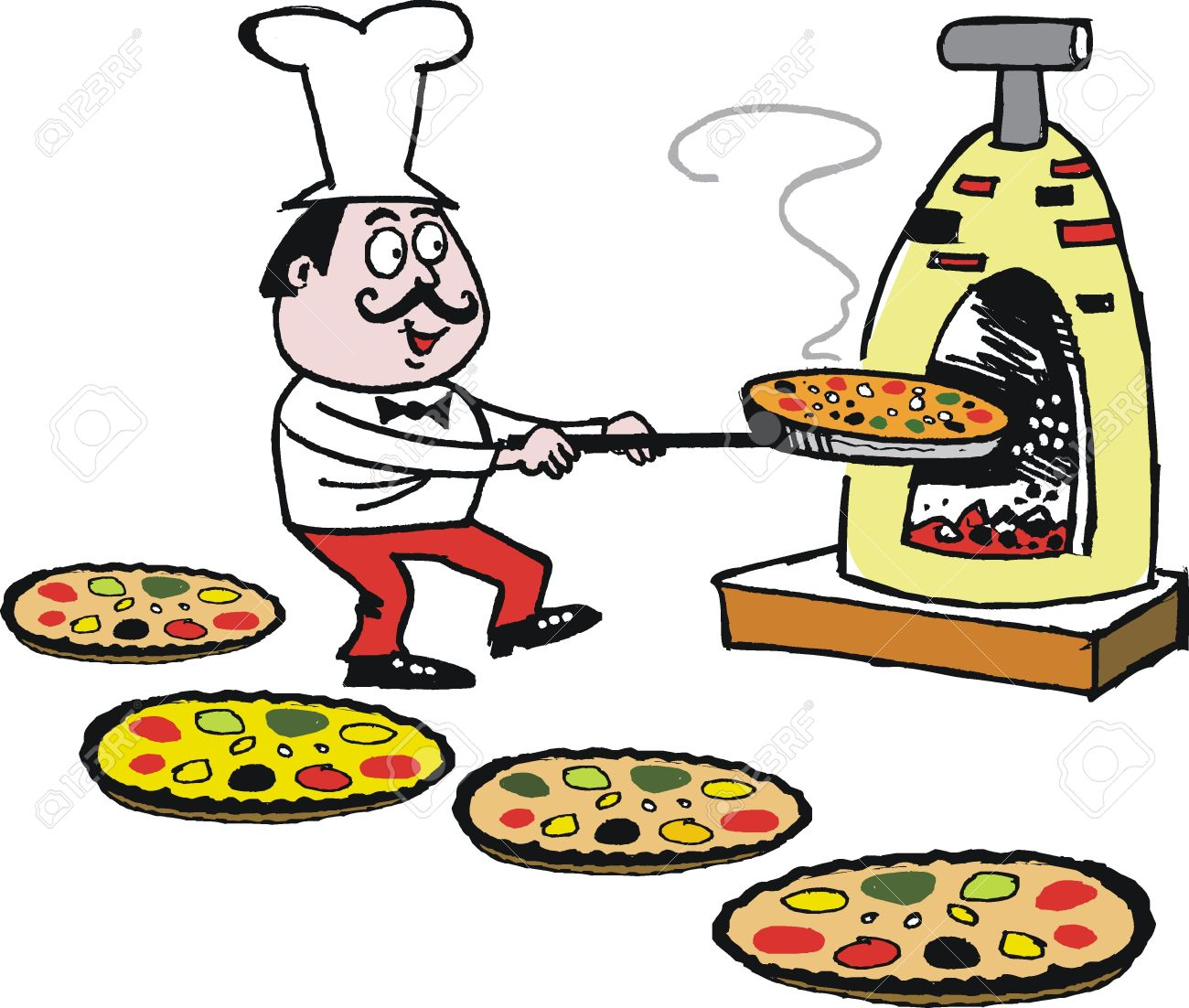 Vector cartoon of chef making pizzas in oven Stock Vector - 13840531