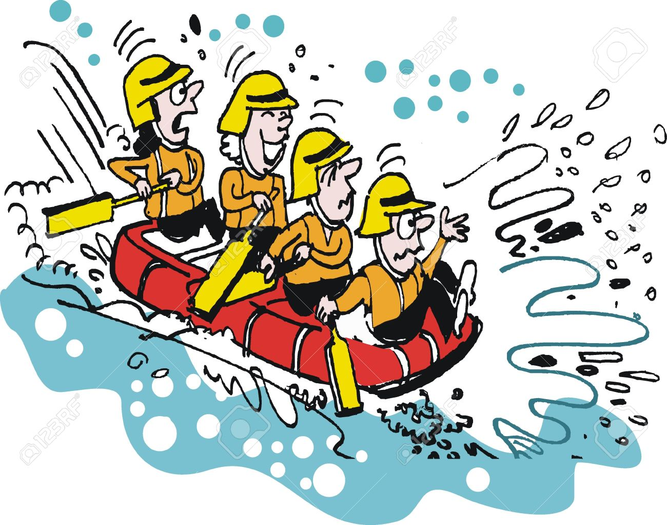 Vector Cartoon Of White Water Rafting People Royalty Free Cliparts