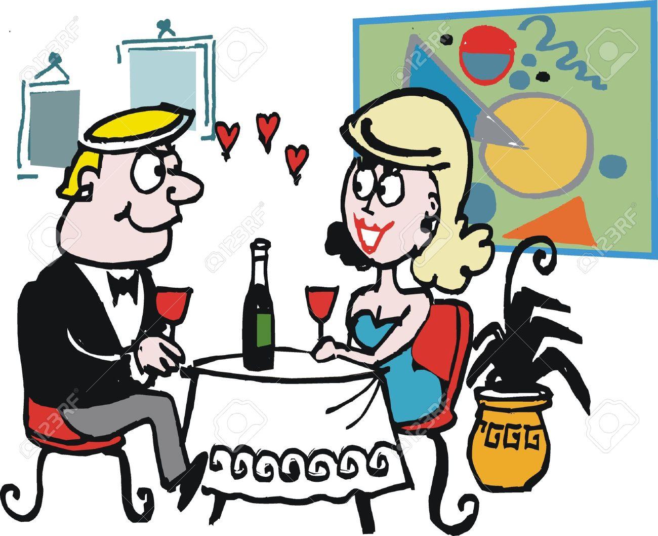Cartoon restaurant free vector graphic download - Vector Cartoon Of Couple Enjoying Romantic Dinner Stock Vector 13840522
