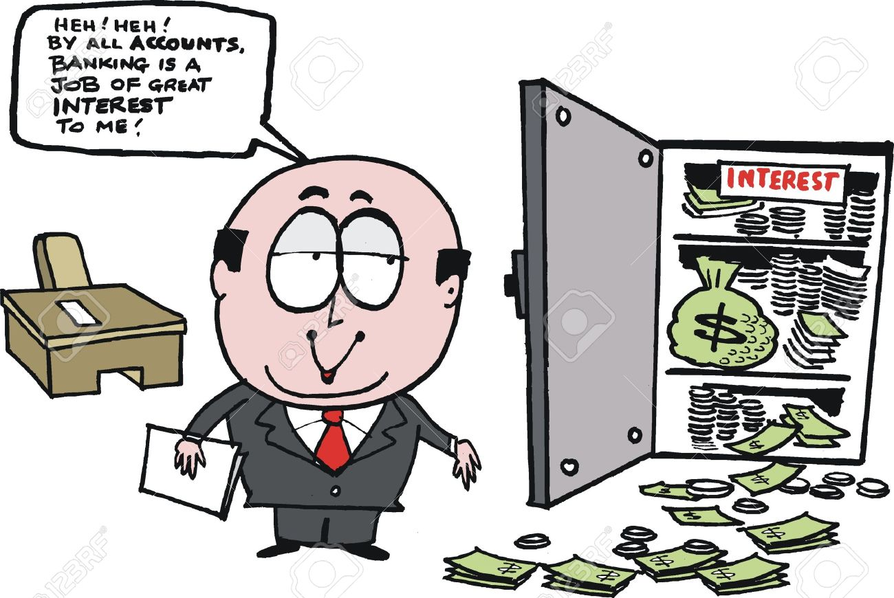 cartoon showing bank manager with money Stock Vector - 14122116