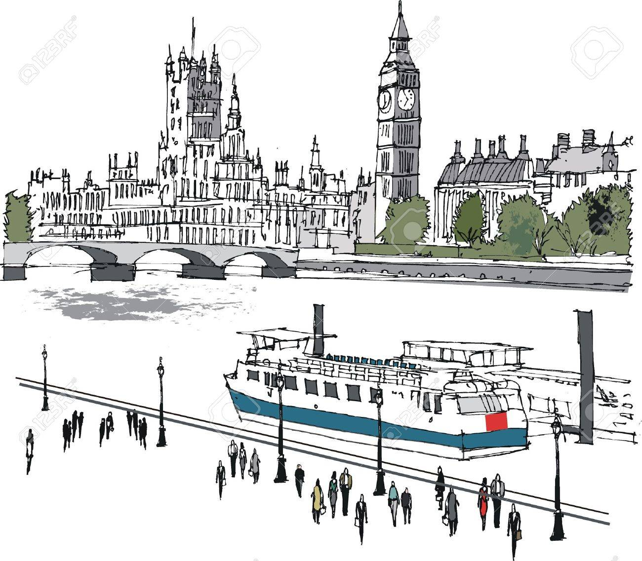Vector illustration of Westminster buildings and Thames, London Stock Vector - 14231420