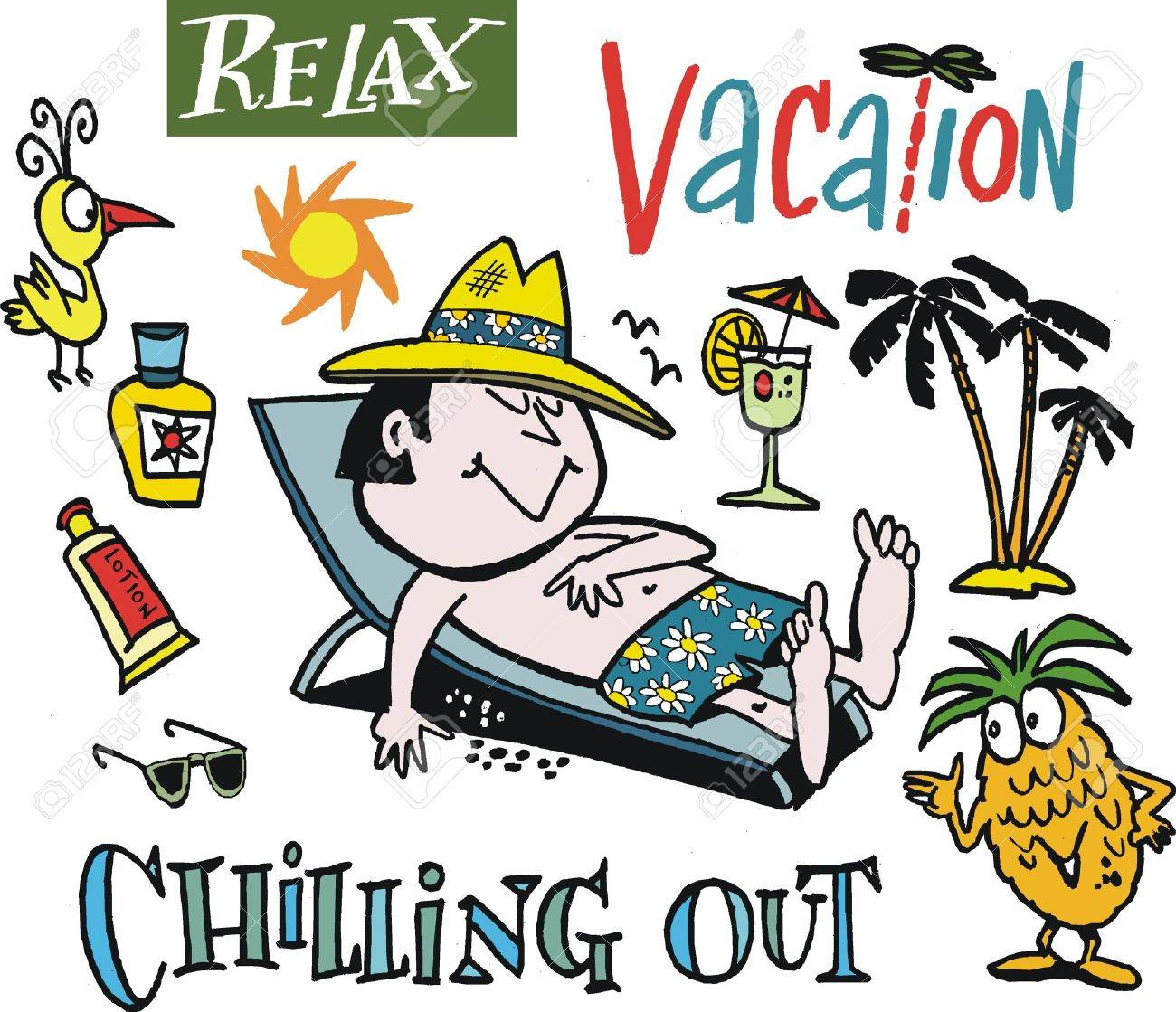 vector cartoon of man relaxing on holiday - Holiday Cartoon Images