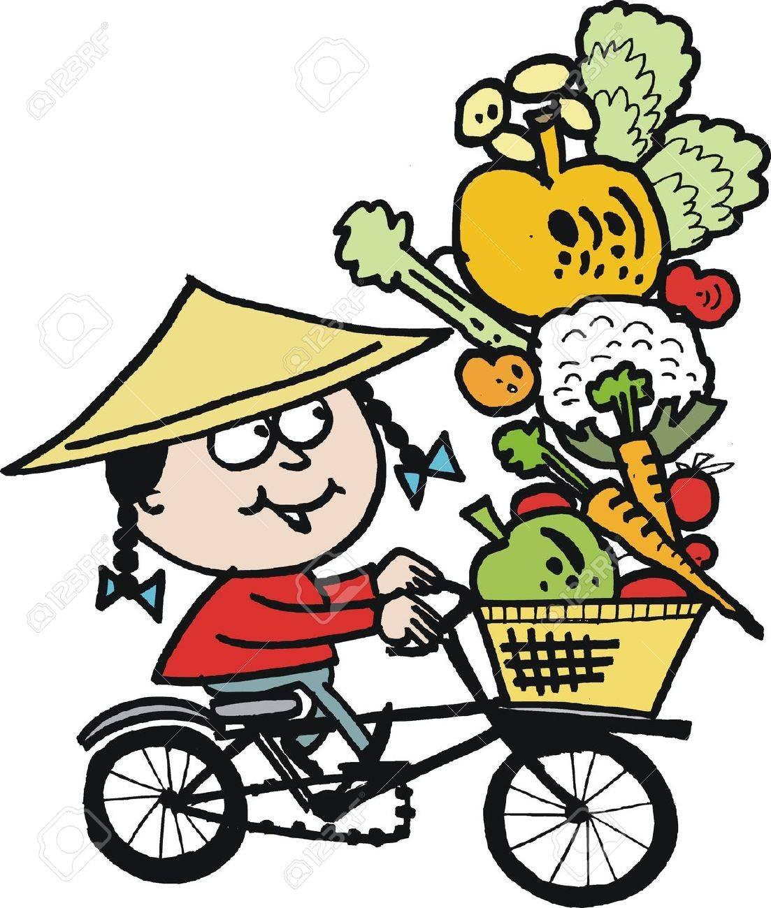 cartoon of Asian man on bicycle Stock Vector - 15170135