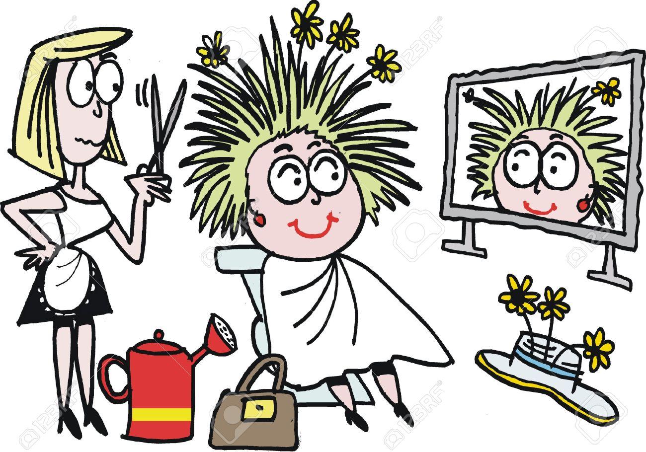 cartoon of hairdresser styling hair Stock Vector - 15170146