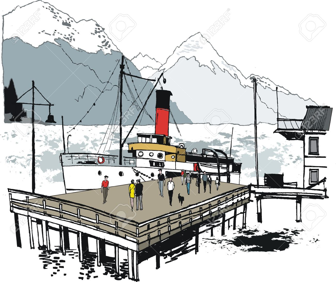 Vector illustration of vintage steamer, Queenstown, New Zealand Stock Vector - 15783370