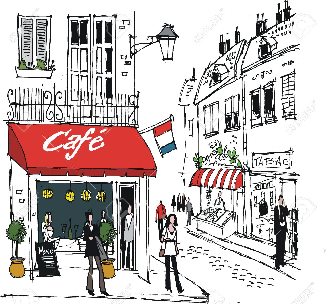 french cafe  illustration of  French Street Cafe