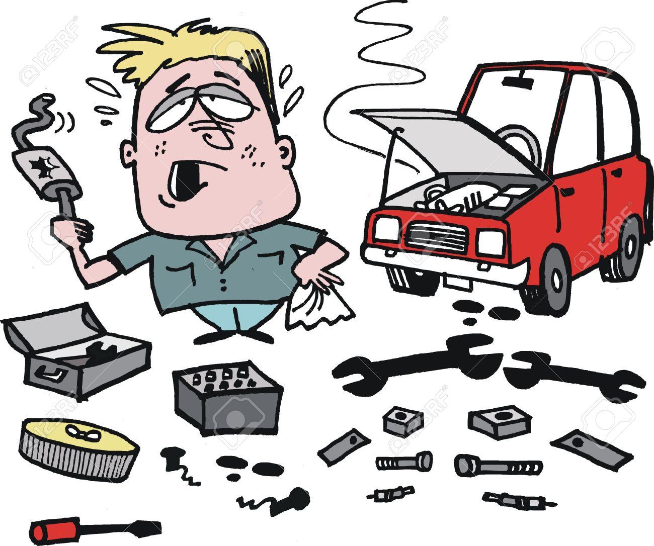 cartoon of frustrated motorist fixing car Stock Vector - 16520520