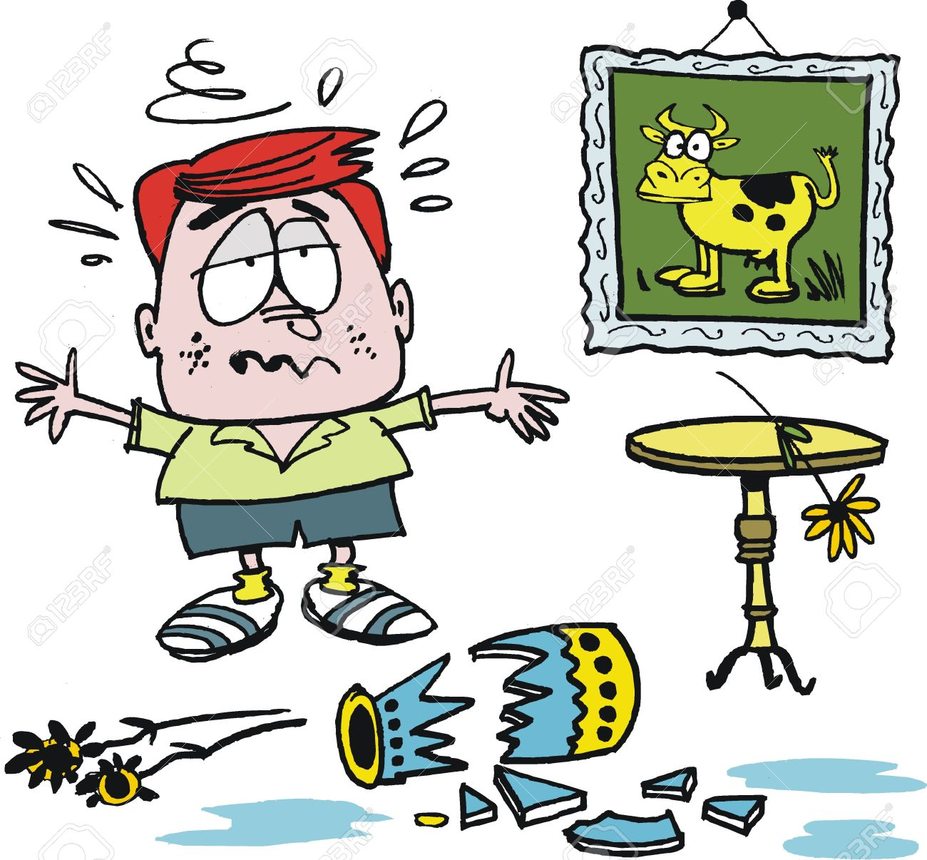 Vector cartoon of upset boy with broken vase Stock Vector - 16565593