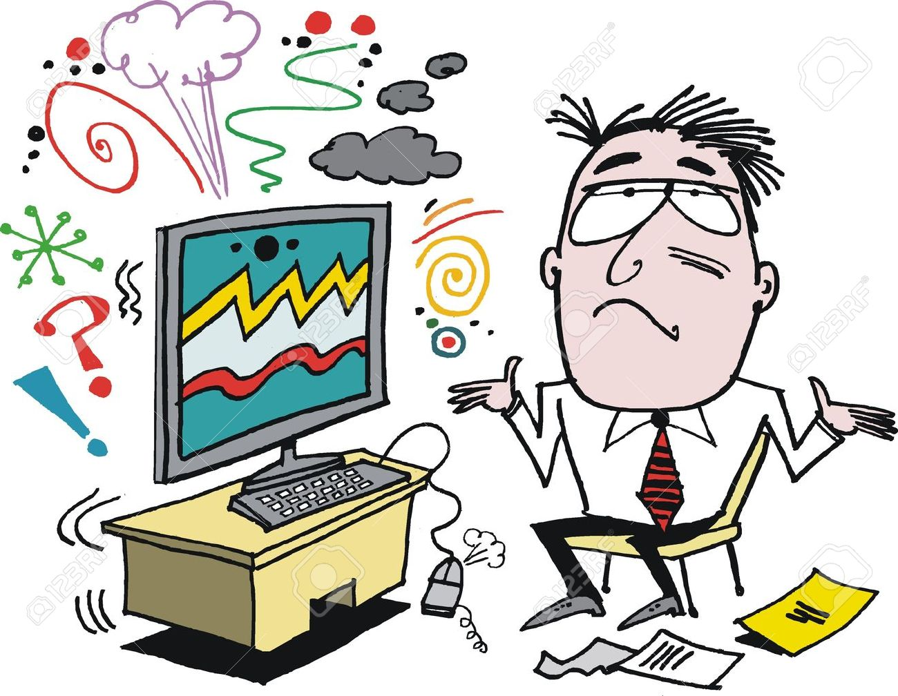 Vector cartoon of angry man with defective computer Stock Vector - 16565592