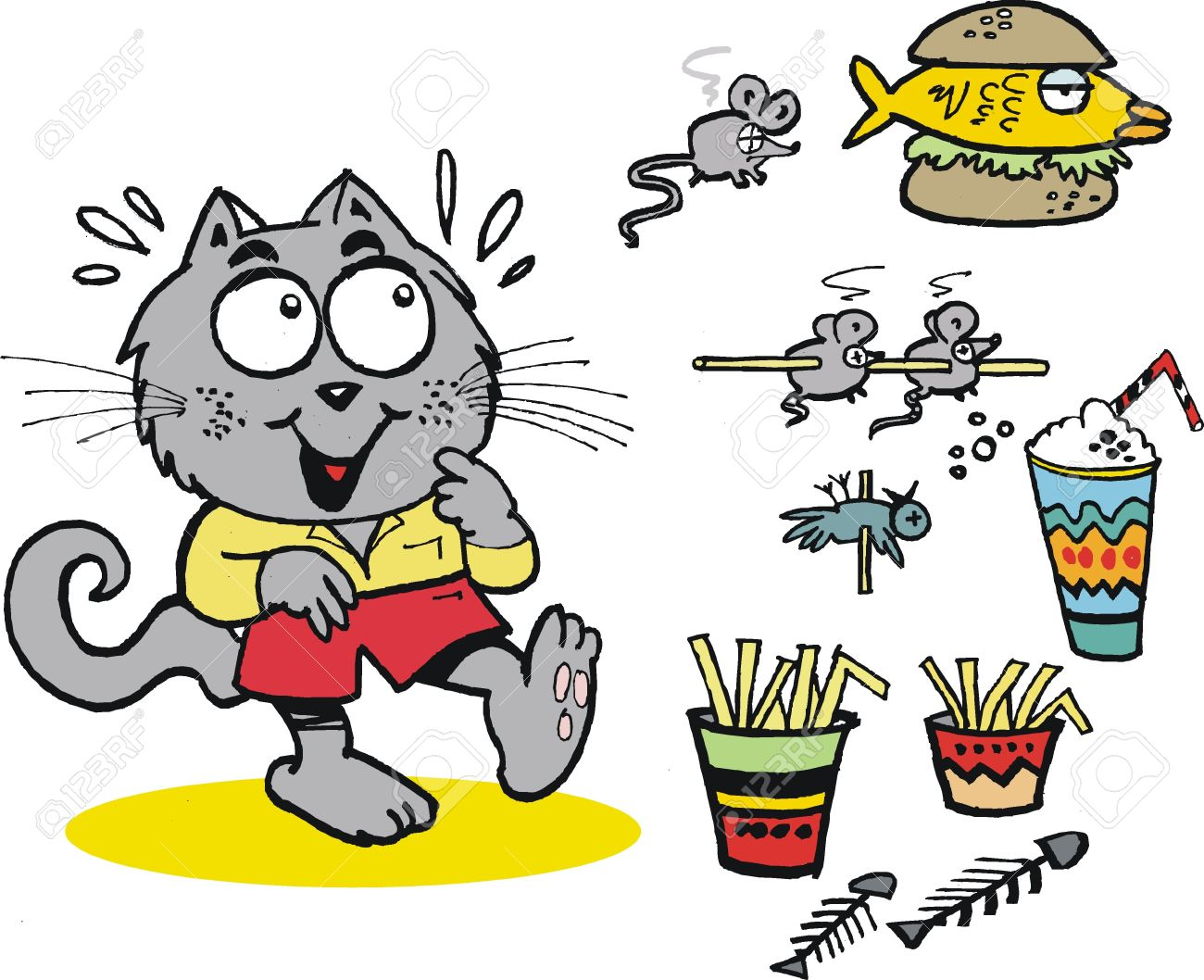 Vector Cartoon Of Hungry Cat With Fast Food Royalty Free Cliparts Vectors And Stock Illustration Image 16886085