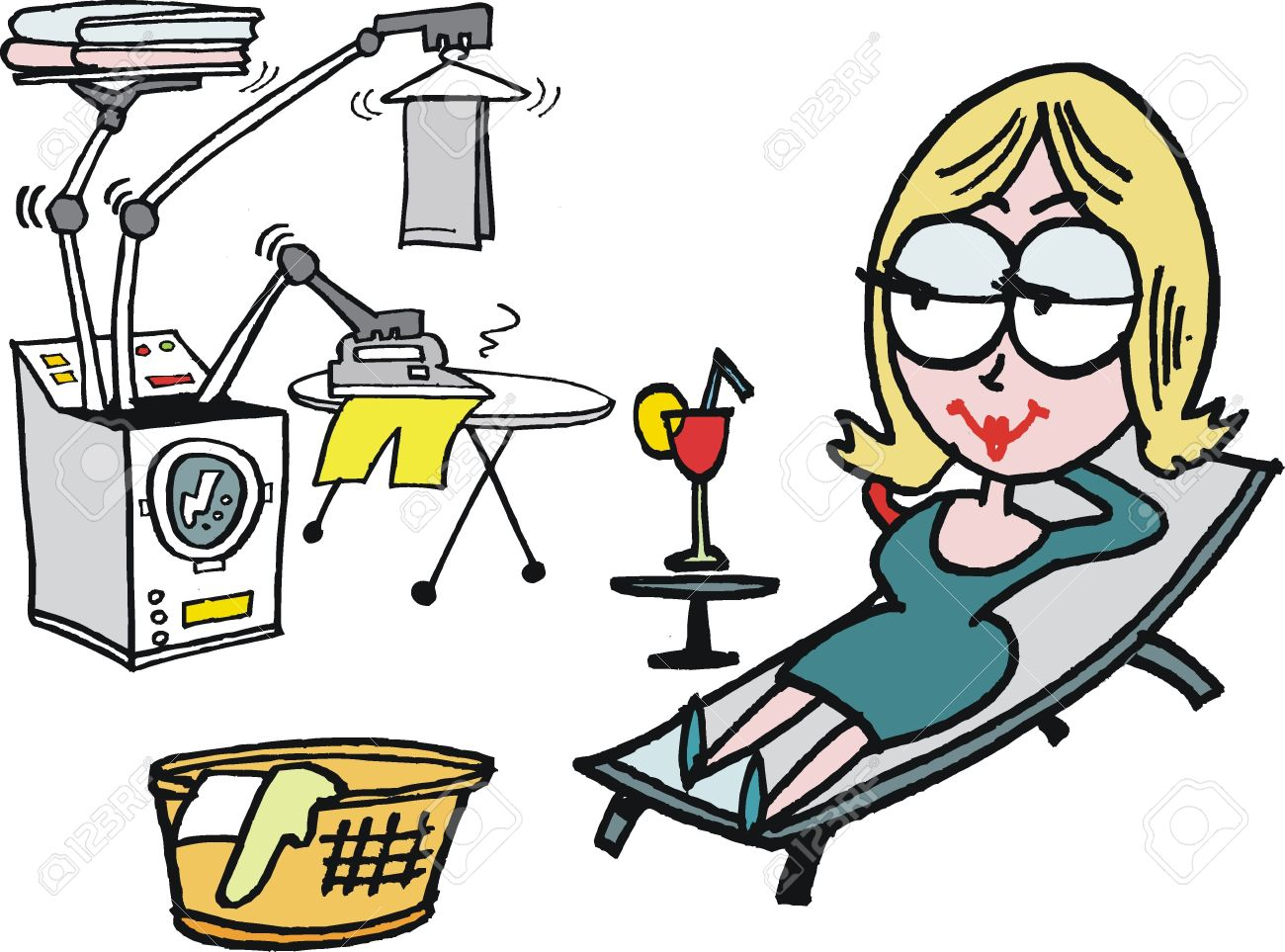 Vector cartoon of woman relaxing whilst doing laundry Stock Vector - 17339270