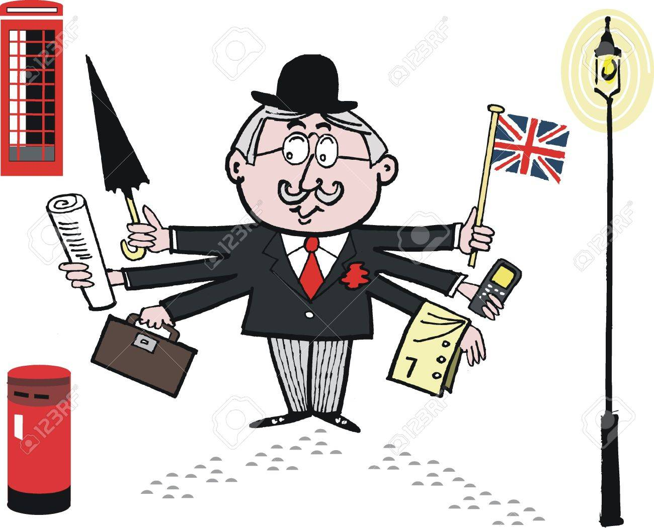 Cartoon Of English Man In Bowler Hat With Flag Royalty Free Cliparts