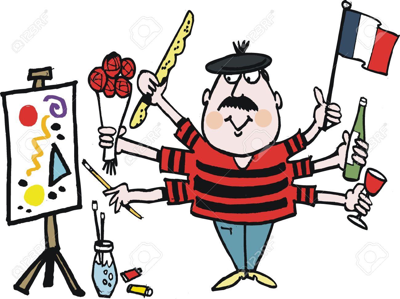cartoon of Frenchman holding flag. Stock Vector - 17693124
