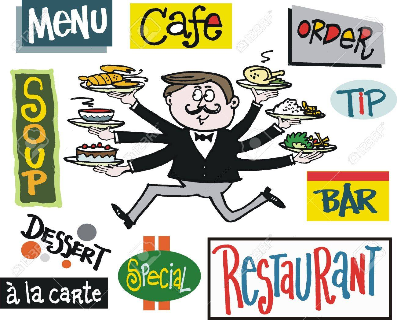 Vector cartoon of running waiter with cafe signs Stock Vector - 17844891
