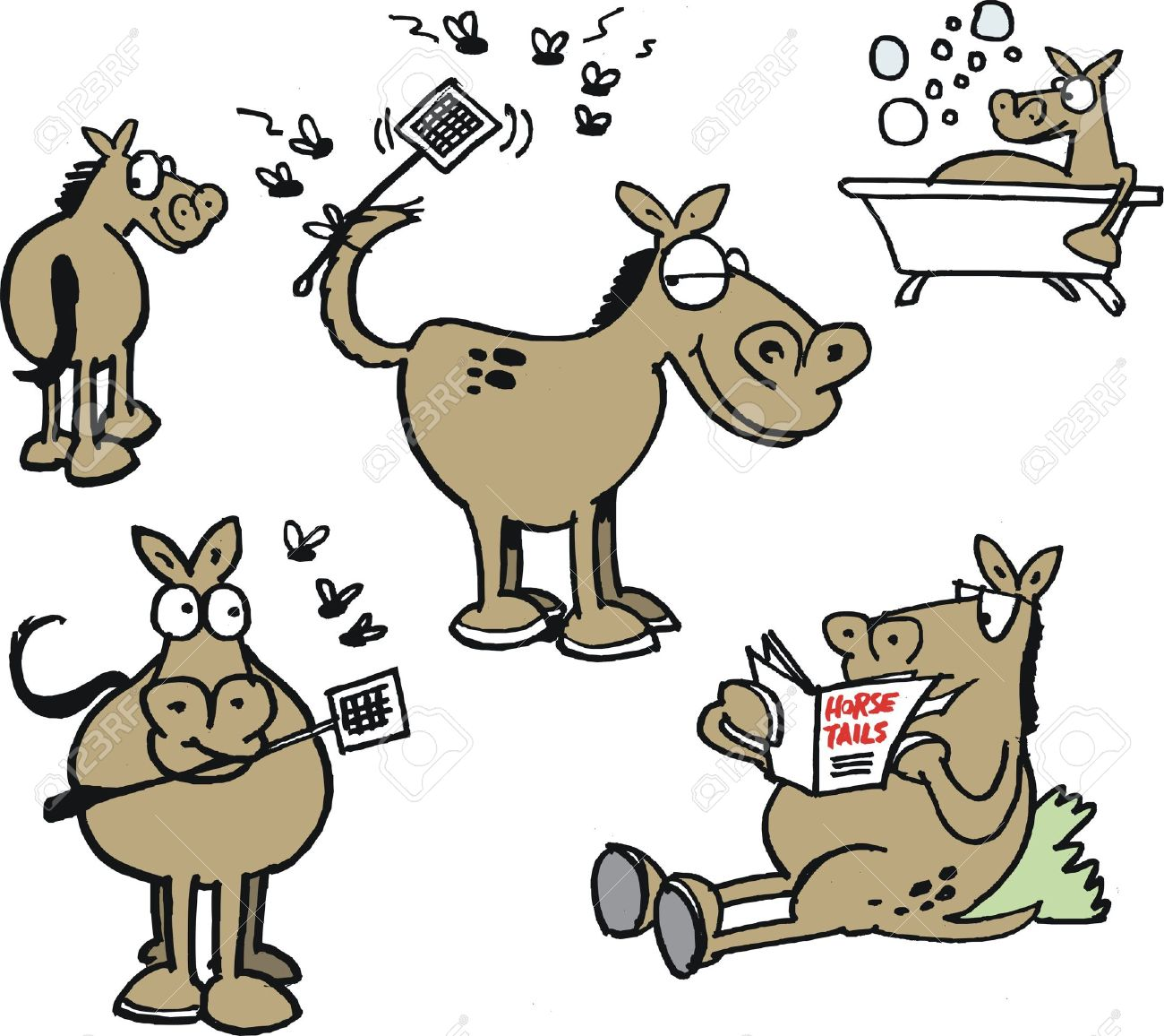 Vector Cartoon Showing Group Of Funny Horses And Flies Royalty Free Cliparts Vectors And Stock Illustration Image 23860984