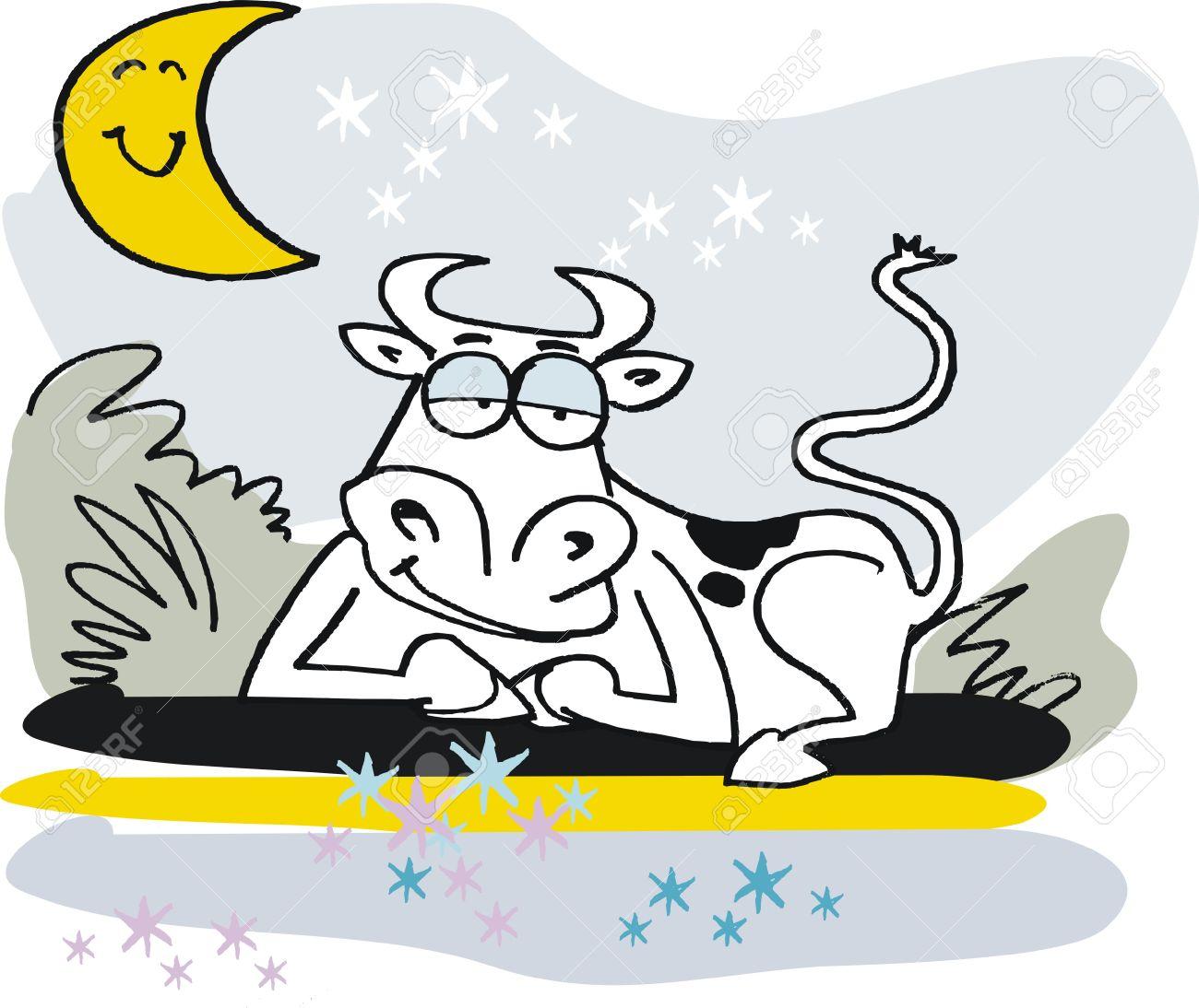 Vector De Dibujos Animados De La Vaca Sueno Relajante En El Jardin