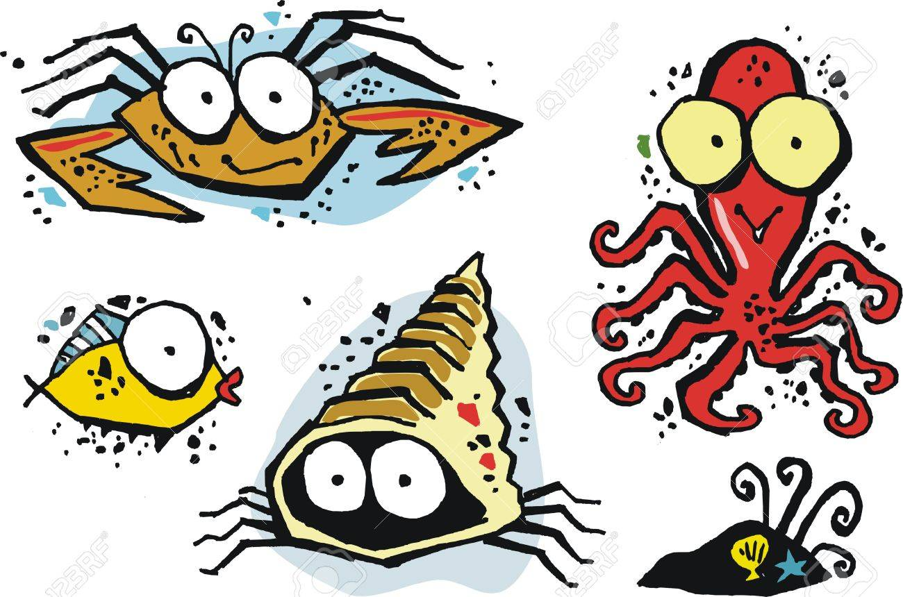 group of funny vector cartoon sea creatures including octopus