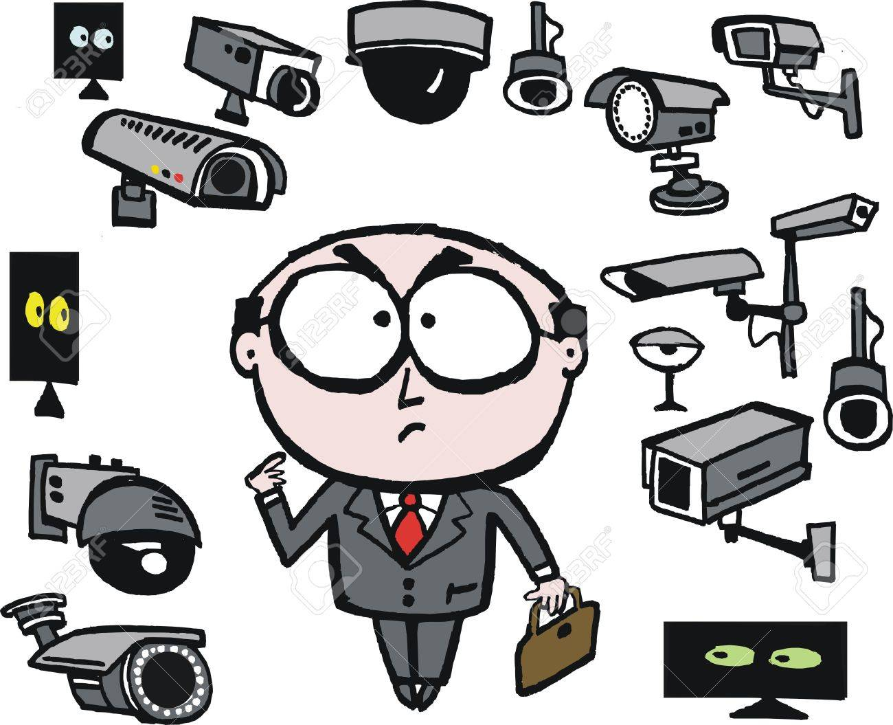 Vector Cartoon Of Businessman Surrounded By Security Cameras Royalty