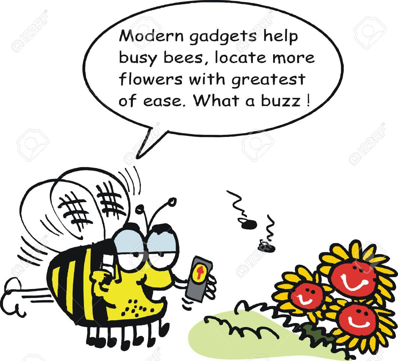Vector cartoon of funny bee with GPS direction finding device