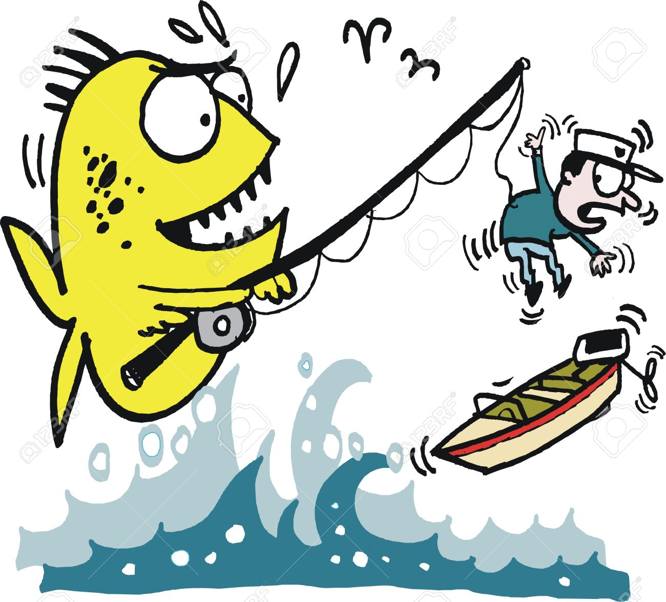 Vector Cartoon Of Big Fish Catching Angler Royalty Free Cliparts
