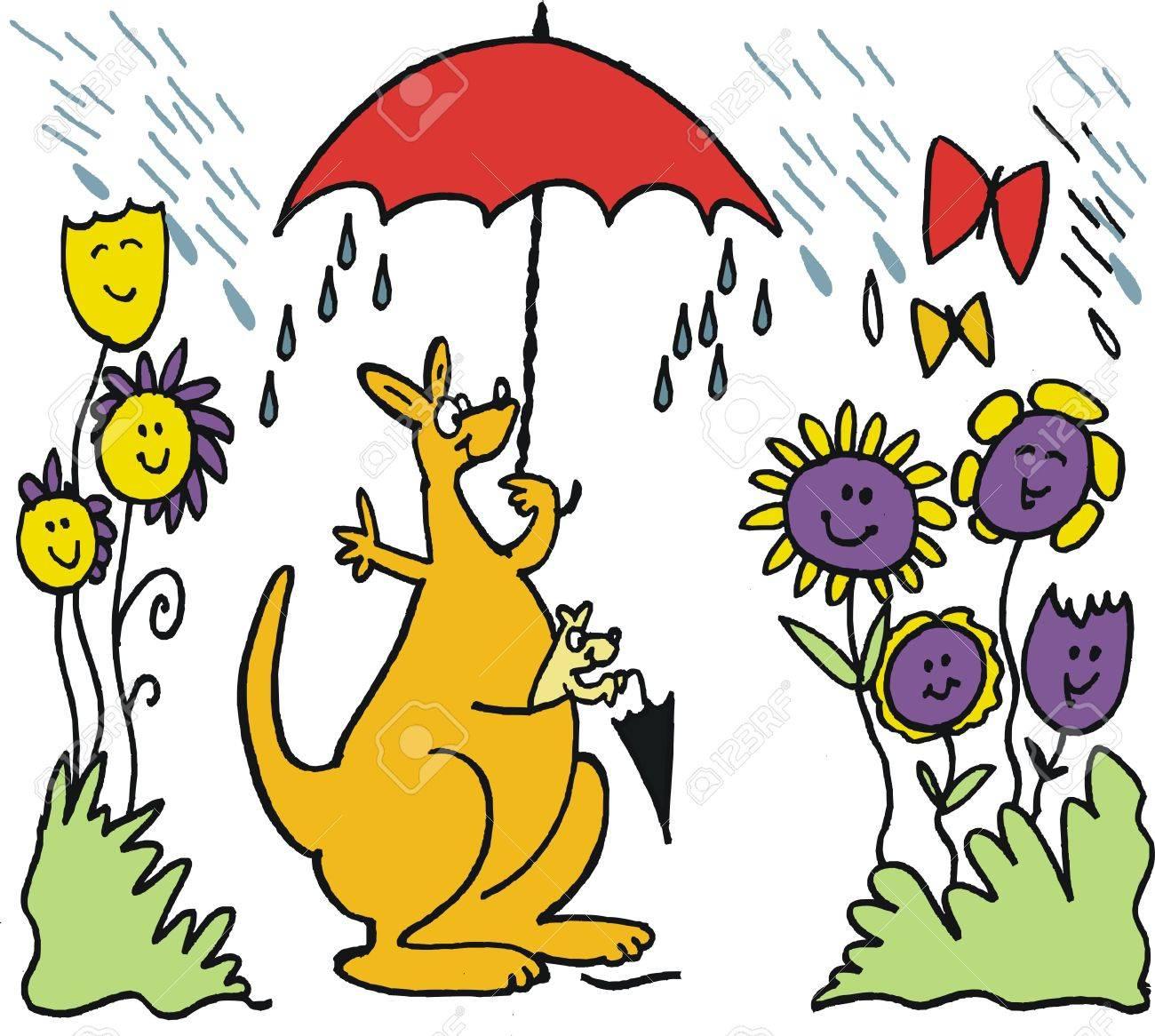 Dessin Anime Vecteur De Kangourou Heureux Avec Le Parapluie Sous La