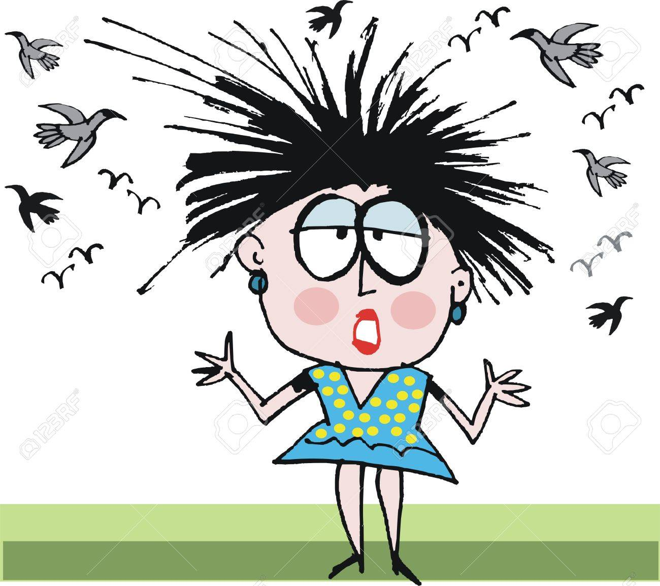 Vector Cartoon Of Woman Having Bad Hair Day Royalty Free Cliparts