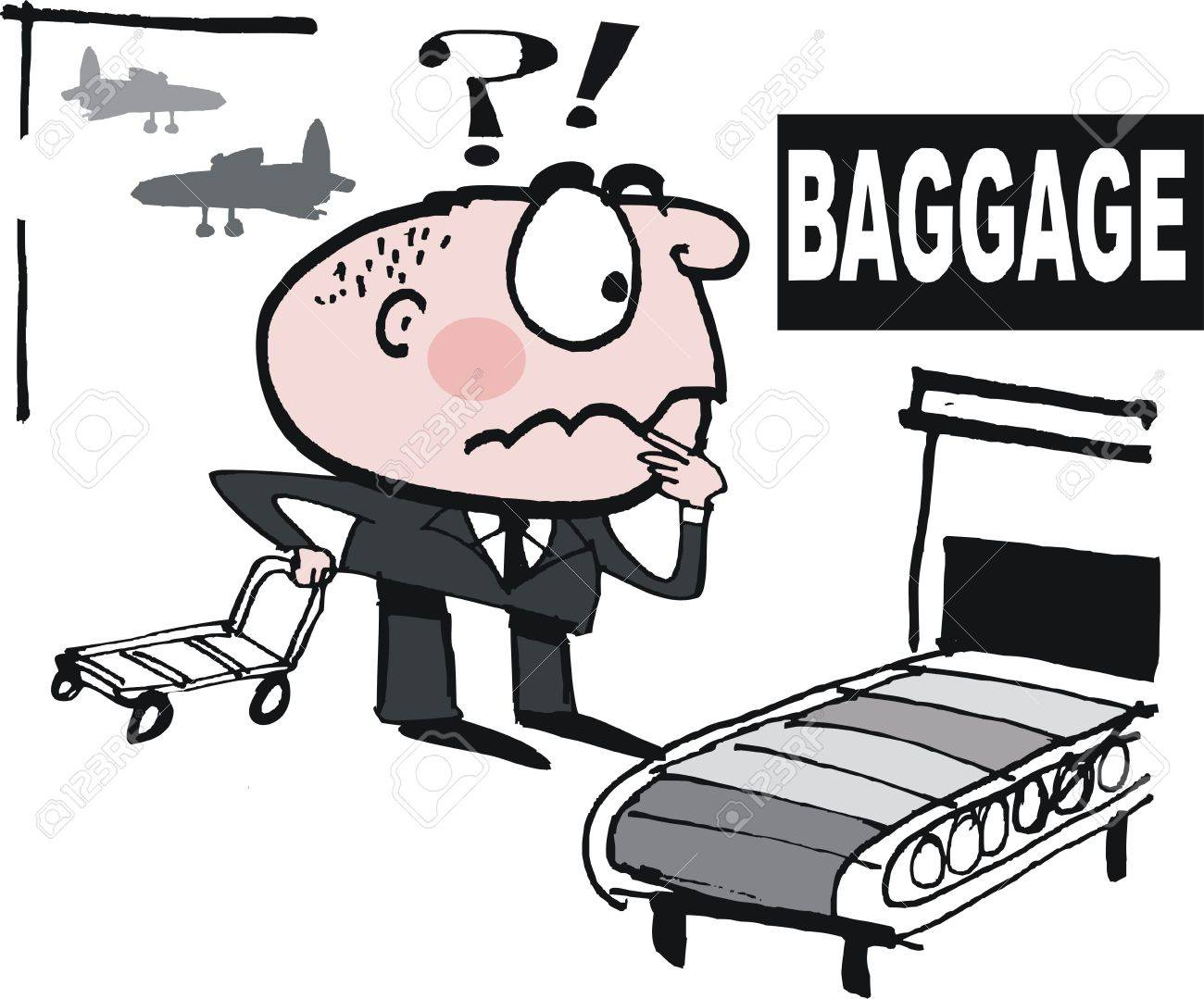 Vector Cartoon Of Upset Business Man Searching For Lost Luggage ...