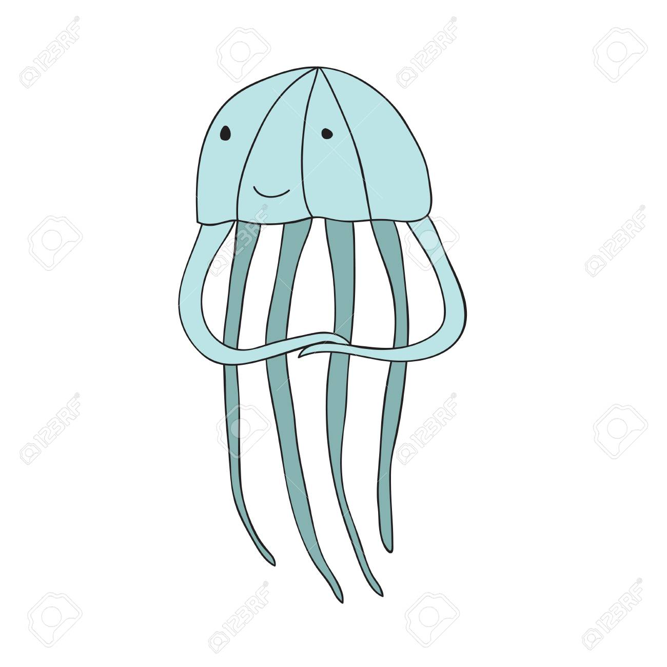 Cute Cartoon Jellyfish Character Vector Illustration In Simple