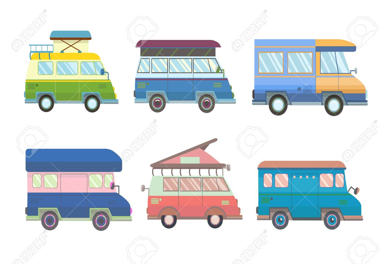 Set of various minivans and motorhomes in flat style. Vector illustration, isolated on white background. - 80523229