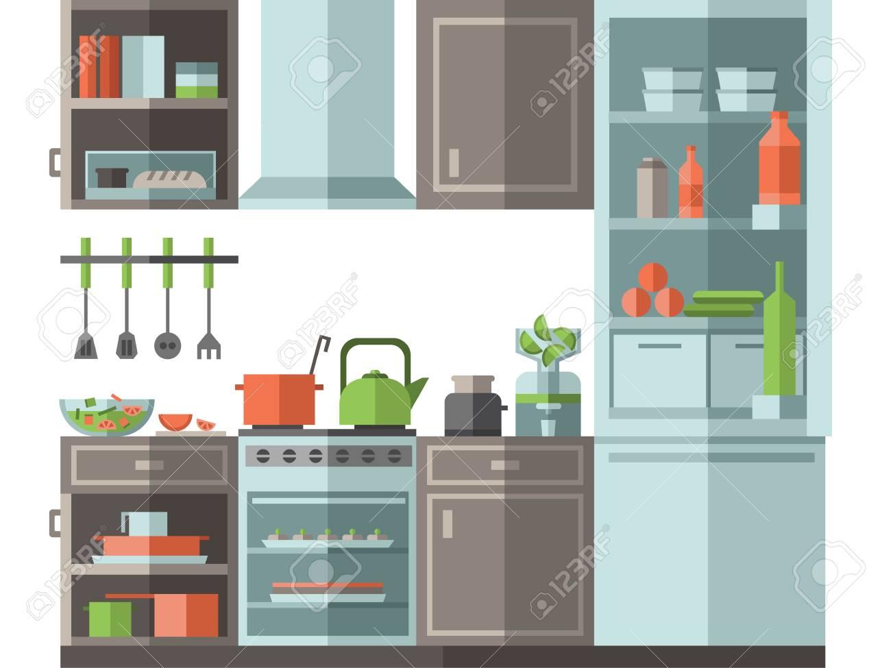 Cucina con mobili, utensili da cucina ed elettrodomestici. Illustrazione  vettoriale stile piatto su sfondo bianco.