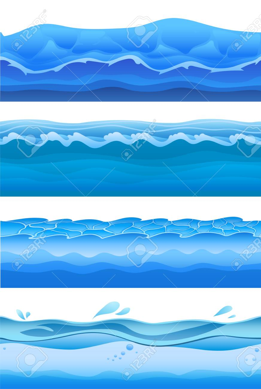 Vettoriale Onde Di Acqua Di Mare Blu Set Di Sfondo Senza