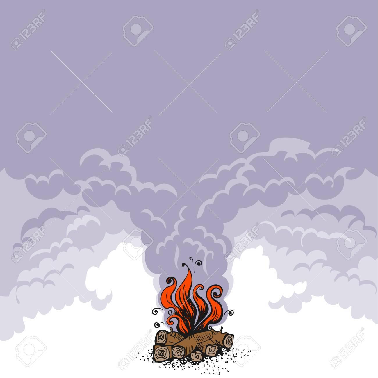 キャンプファイヤー木製の丸太と煙の雲の上の火コピー スペース