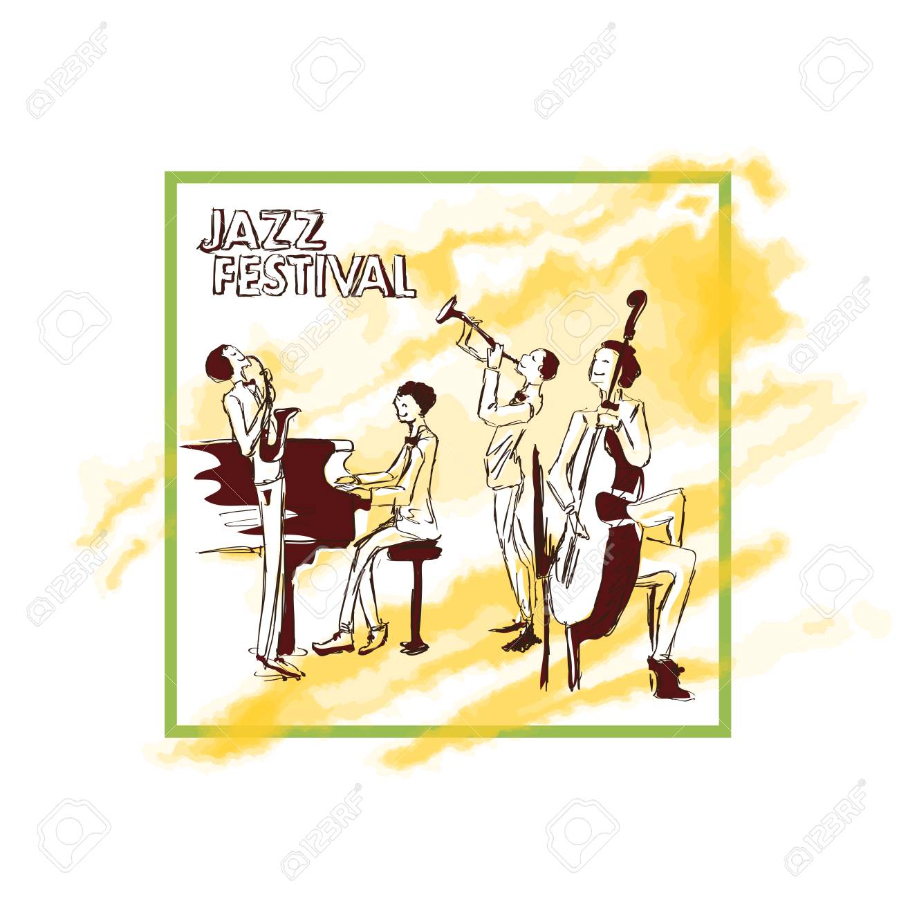 A Poster For A Jazz Concert With Jazz Band Playing On The Background