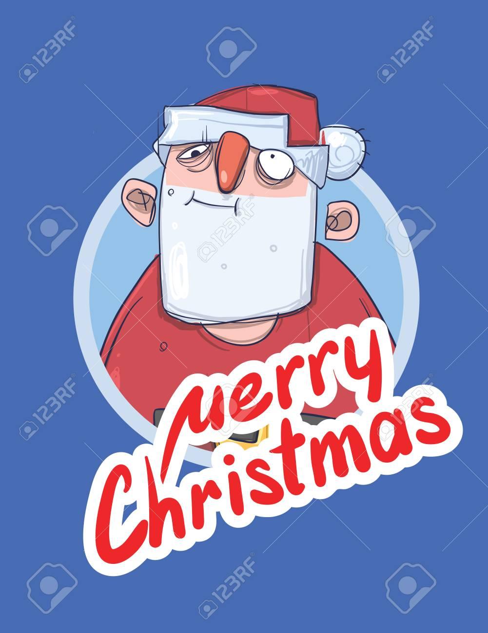 Babbo Natale Ubriaco.Vettoriale Cartolina Di Natale Con Babbo Natale Divertente Ubriaco