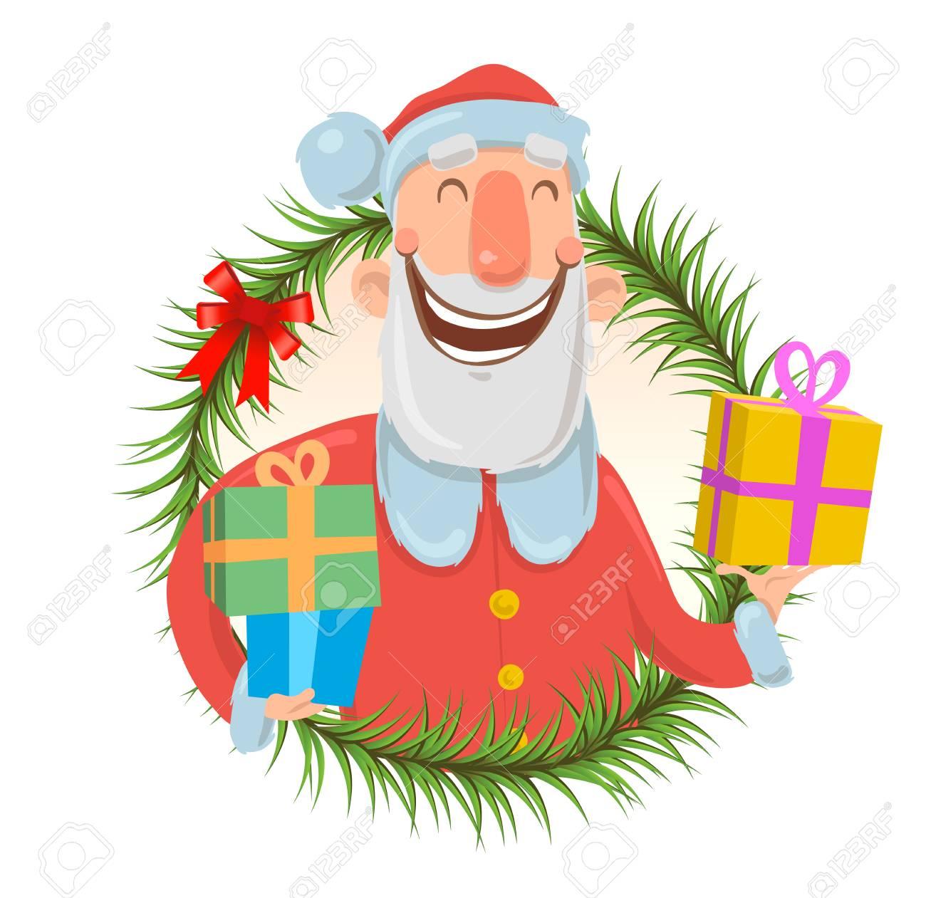 Kerstkaart Met Het Grappige Glimlachen Van De Kerstman De Kerstman
