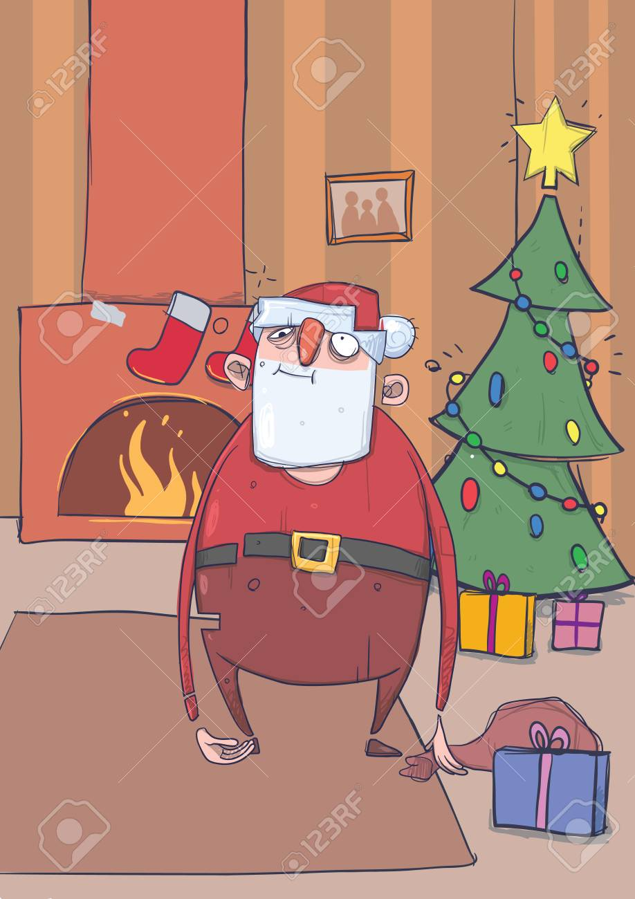 funny drunk santa claus with a bag stands in a room with decoreted christmas tree and - Drunk Christmas