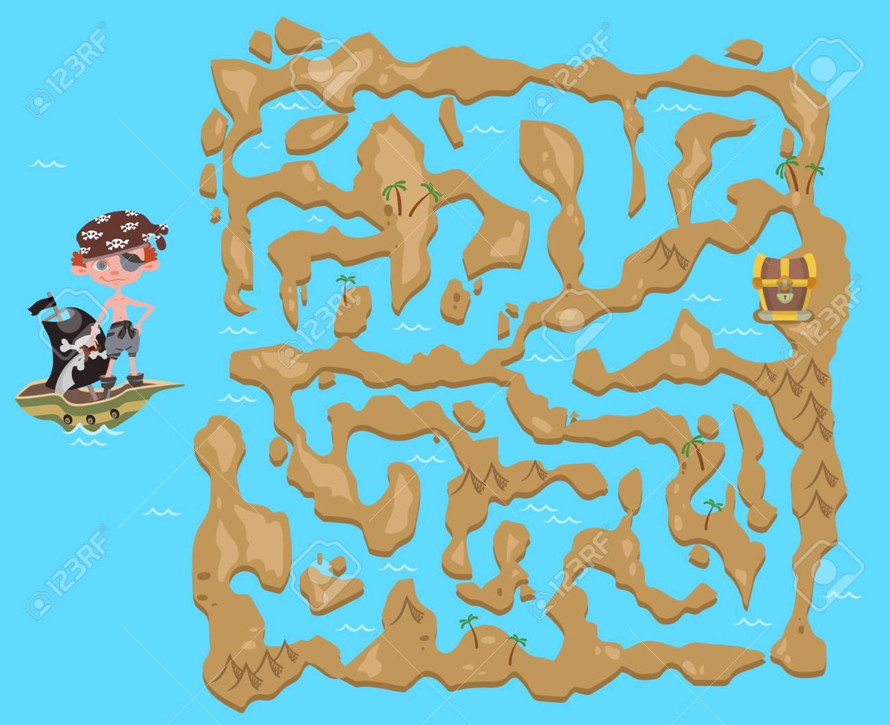 Mapa Del Tesoro Pirata Para Niños.Laberinto De Ninos Mapa Del Tesoro Pirata Lindo Juego De Rompecabezas Para Ninos Ilustracion Vectorial