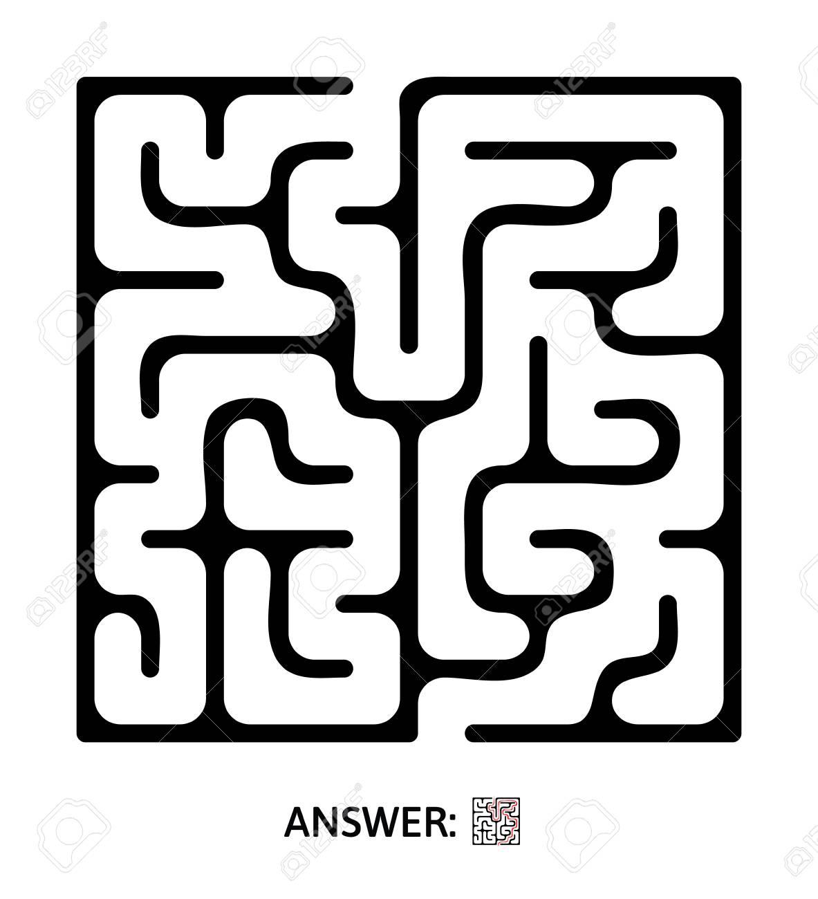 Black Maze Puzzle Game For Kids Vector Labyrinth Illustration