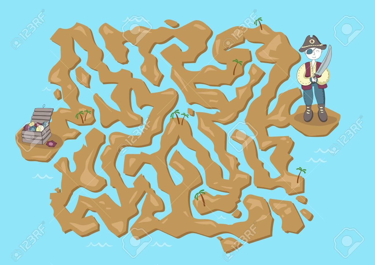 Children\'s Treasure Map Children's Maze. Pirate Treasure Map. Cute Puzzle Game For Kids
